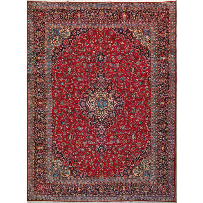 """https://www.armanrugs.com/   9' 10"""" x 13' 4"""" Red Kashan Hand Knotted Wool Authentic Persian Rug"""
