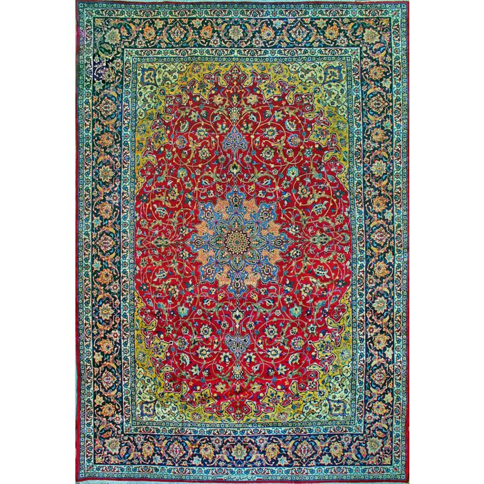 """https://www.armanrugs.com/   11' 10"""" x 17' Red Esfahan Hand Knotted Wool Authentic Persian Rug"""