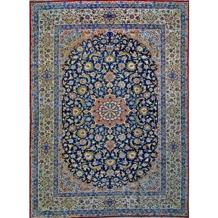 """https://www.armanrugs.com/   12' 2"""" x 17' 3"""" Navy Blue Esfahan Hand Knotted Wool Authentic Persian Rug"""