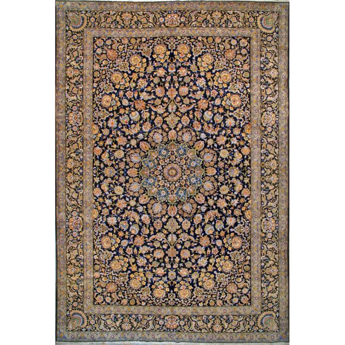 "https://www.armanrugs.com/ | 11' 4"" x 16' 11"" Navy Blue Kashan Hand Knotted Wool Authentic Persian Rug"
