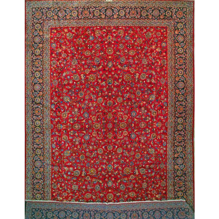 """https://www.armanrugs.com/   13' 1"""" x 19' 5"""" Red Kashan Hand Knotted Wool Authentic Persian Rug"""
