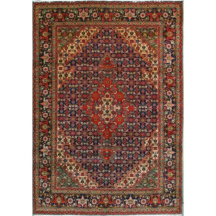 """https://www.armanrugs.com/   6' 8"""" x 9' 6"""" Navy Blue Tabriz Hand Knotted Wool Authentic Persian Rug"""