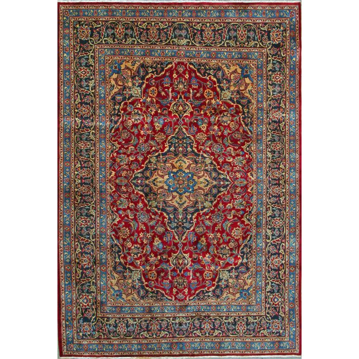 "https://www.armanrugs.com/ | 6' 6"" x 9' 6"" Red Mashad Hand Knotted Wool Authentic Persian Rug"