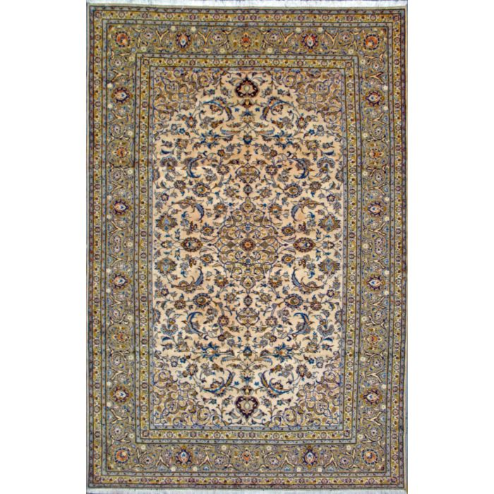 """https://www.armanrugs.com/   7' 0"""" x 10' 9"""" Beige Kashan Hand Knotted Wool Authentic Persian Rug"""