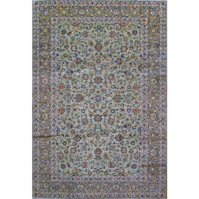"https://www.armanrugs.com/ | 8' 2"" x 12' 1"" Green Kashan Hand Knotted Wool Authentic Persian Rug"