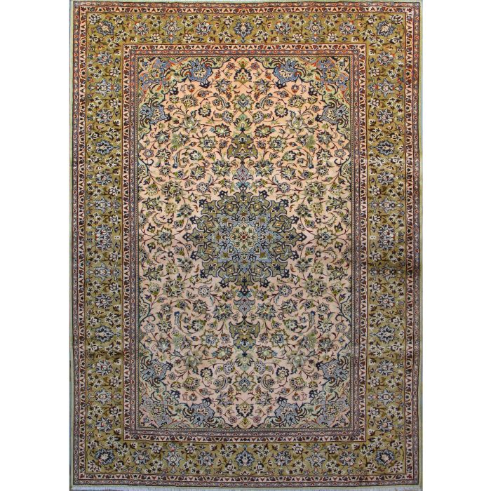 "https://www.armanrugs.com/ | 8' 6"" x 11' 9"" Beige Esfahan Hand Knotted Wool Authentic Persian Rug"