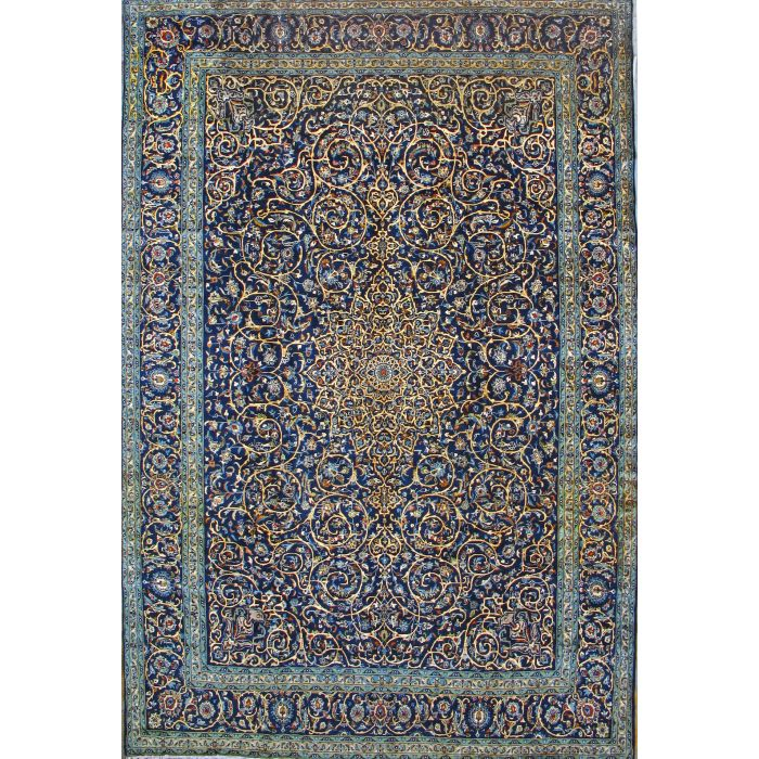 "https://www.armanrugs.com/ | 19' 8"" x 14' 5"" Navy Blue Kashan Hand Knotted Wool Authentic Persian Rug"