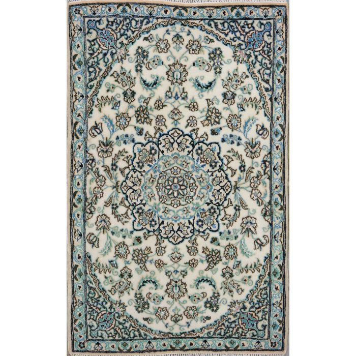 "https://www.armanrugs.com/ | 2' 11"" x 4' 7"" Beige Nain Hand Knotted Wool & Silk Authentic Persian Rug"