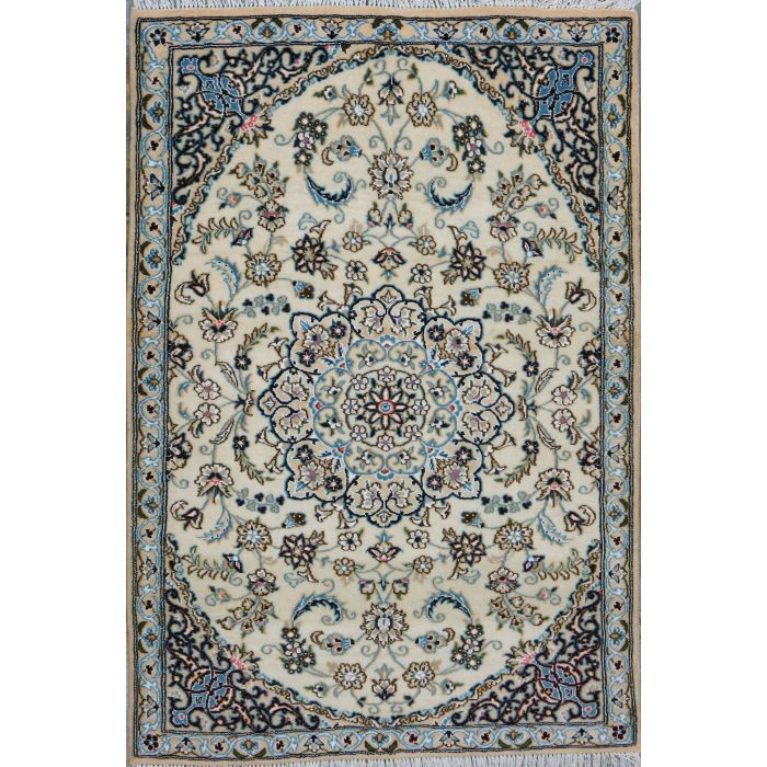 "https://www.armanrugs.com/ | 2' 11"" x 4' 5"" Beige Nain Hand Knotted Wool & Silk Authentic Persian Rug"