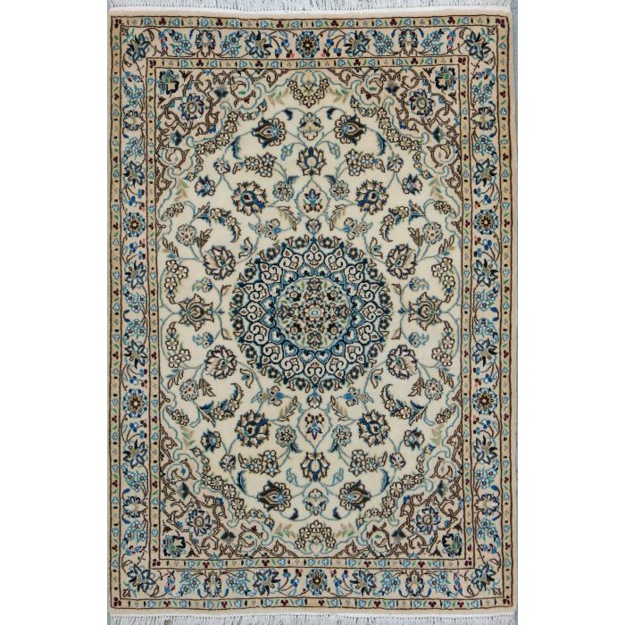 "https://www.armanrugs.com/ | 3' 3"" x 4' 9"" Beige Nain Hand Knotted Wool & Silk Authentic Persian Rug"