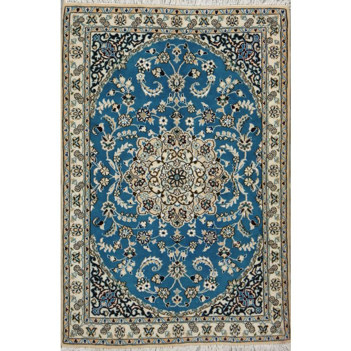 """https://www.armanrugs.com/   3' 3"""" x 4' 9"""" Blue Nain Hand Knotted Wool & Silk Authentic Persian Rug"""