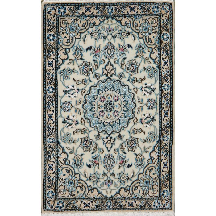 "https://www.armanrugs.com/ | 1' 11"" x 3' 1"" Beige Nain Hand Knotted Wool & Silk Authentic Persian Rug"