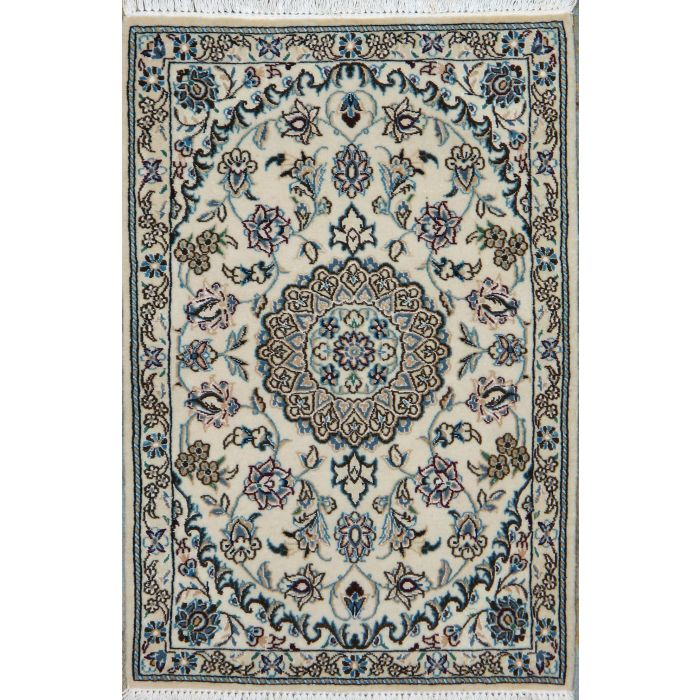 "https://www.armanrugs.com/ | 2' 1"" x 3' 1"" Beige Nain Hand Knotted Wool & Silk Authentic Persian Rug"