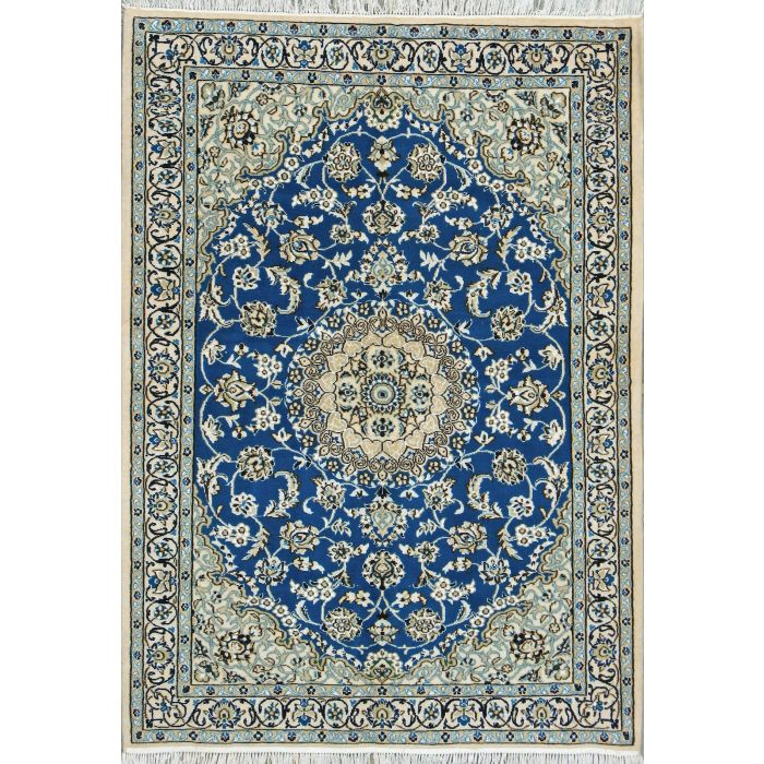 """https://www.armanrugs.com/   3' 11"""" x 5' 6"""" Blue Nain Hand Knotted Wool & Silk Authentic Persian Rug"""