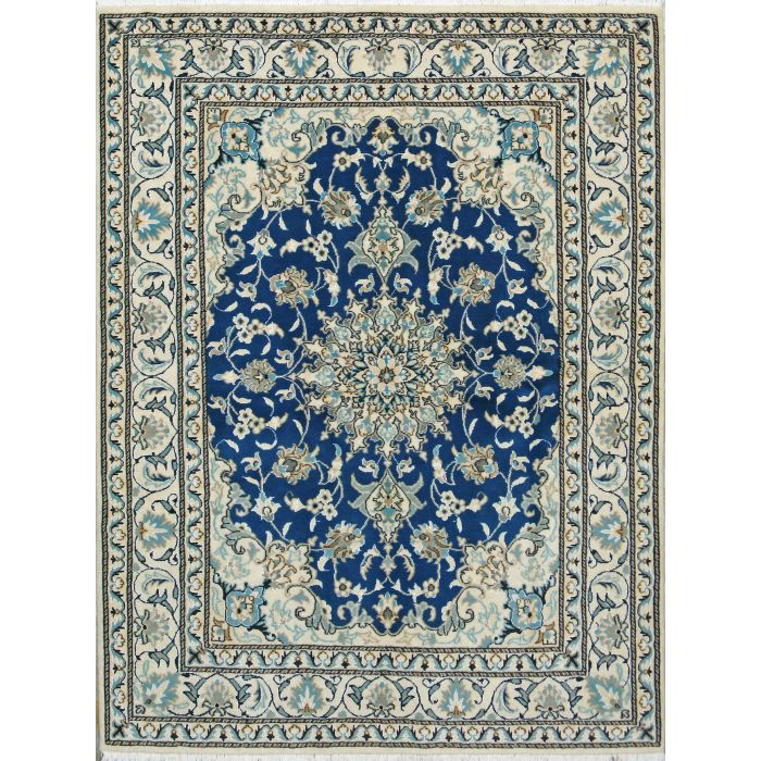 "https://www.armanrugs.com/ | 4' 9"" x 6' 4"" Blue Nain Hand Knotted Wool Authentic Persian Rug"