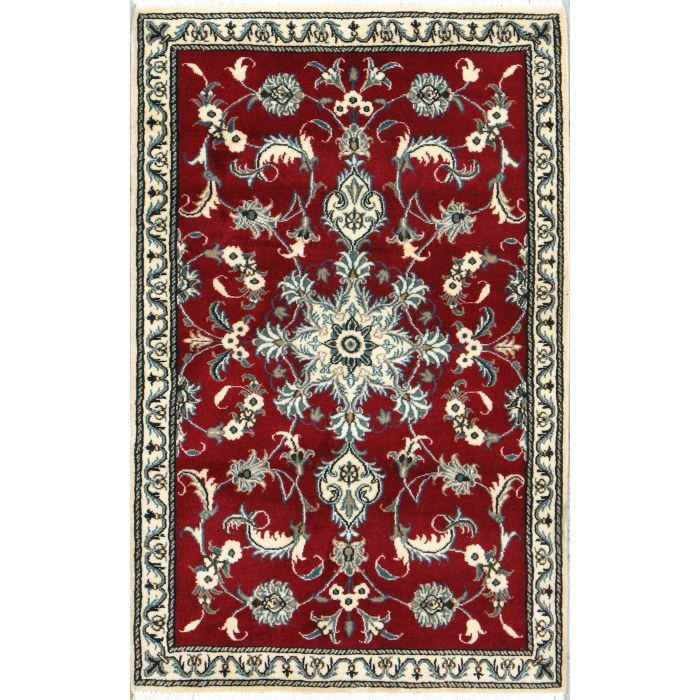 """https://www.armanrugs.com/   2' 11"""" x 4' 7"""" Red Nain Hand Knotted Wool Authentic Persian Rug"""