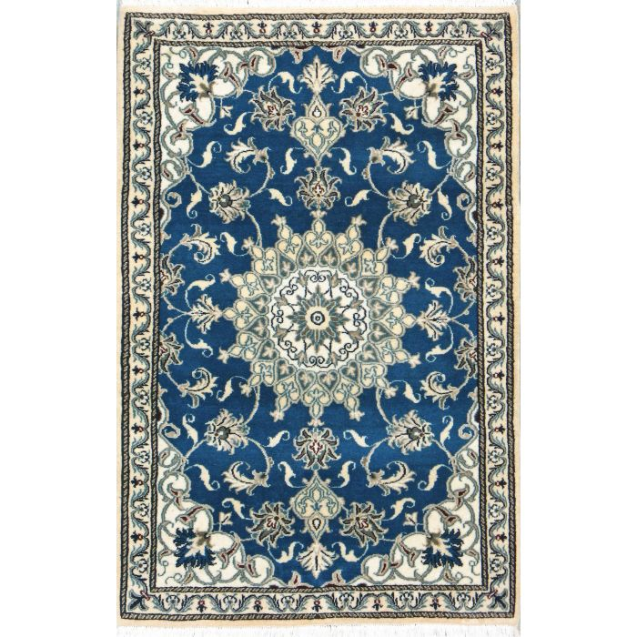 "https://www.armanrugs.com/ | 2' 9"" x 4' 5"" Blue Nain Hand Knotted Wool Authentic Persian Rug"