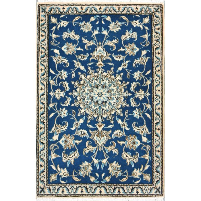 """https://www.armanrugs.com/   2' 11"""" x 4' 5"""" Blue Nain Hand Knotted Wool Authentic Persian Rug"""