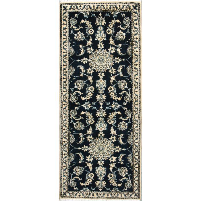 "https://www.armanrugs.com/ | 2' 7"" x 6' 2"" Navy Blue Nain Hand Knotted Wool Authentic Persian Rug"