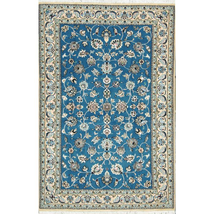 "https://www.armanrugs.com/ | 4' 1"" x 6' 4"" Blue Nain Hand Knotted Wool & Silk Authentic Persian Rug"