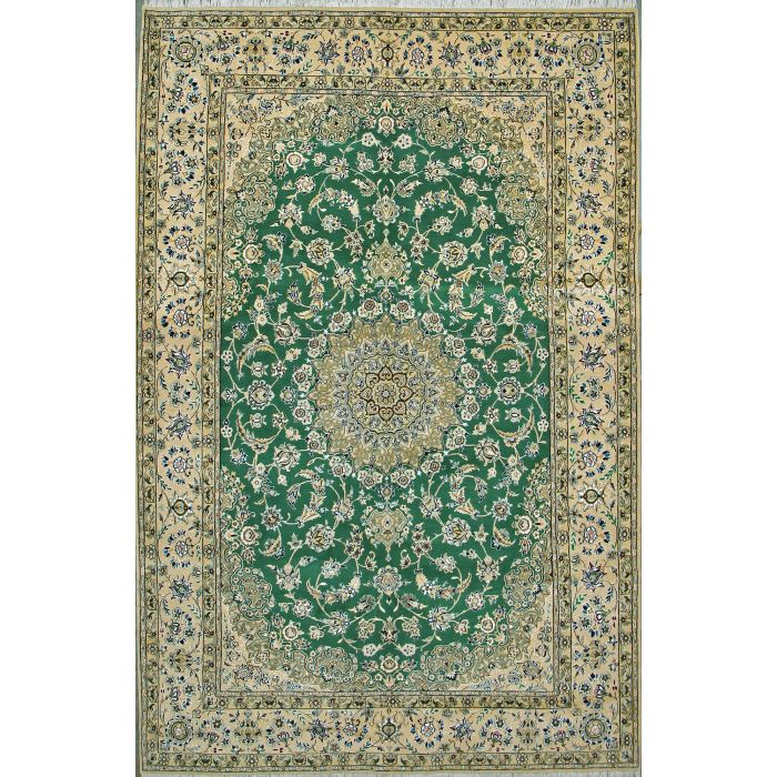 """https://www.armanrugs.com/   6' 4"""" x 9' 10"""" Green Nain Hand Knotted Wool & Silk Authentic Persian Rug"""