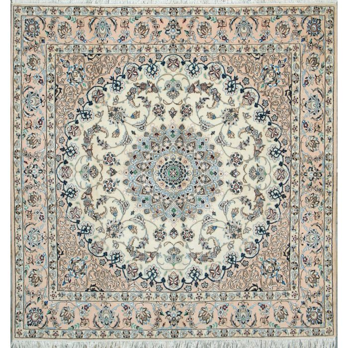 "https://www.armanrugs.com/ | 6' 6"" x 6' 6"" Beige Nain Hand Knotted Wool & Silk Authentic Persian Rug"