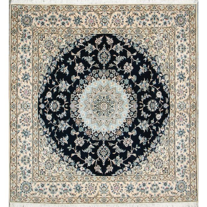 "https://www.armanrugs.com/ | 6' 8"" x 7' 0"" Navy Blue Nain Hand Knotted Wool & Silk Authentic Persian Rug"