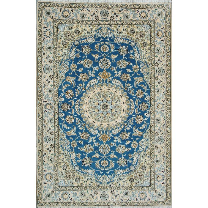 """https://www.armanrugs.com/   5' 1"""" x 7' 8"""" Blue Nain Hand Knotted Wool & Silk Authentic Persian Rug"""