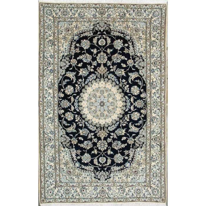 "https://www.armanrugs.com/ | 5' 1"" x 8' 0"" Navy Blue Nain Hand Knotted Wool & Silk Authentic Persian Rug"
