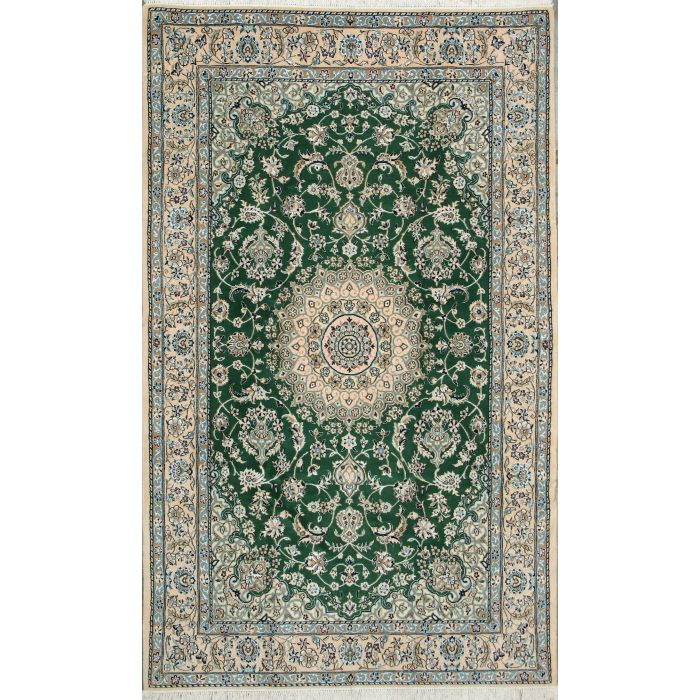 """https://www.armanrugs.com/   5' 1"""" x 8' 2"""" Green Nain Hand Knotted Wool & Silk Authentic Persian Rug"""