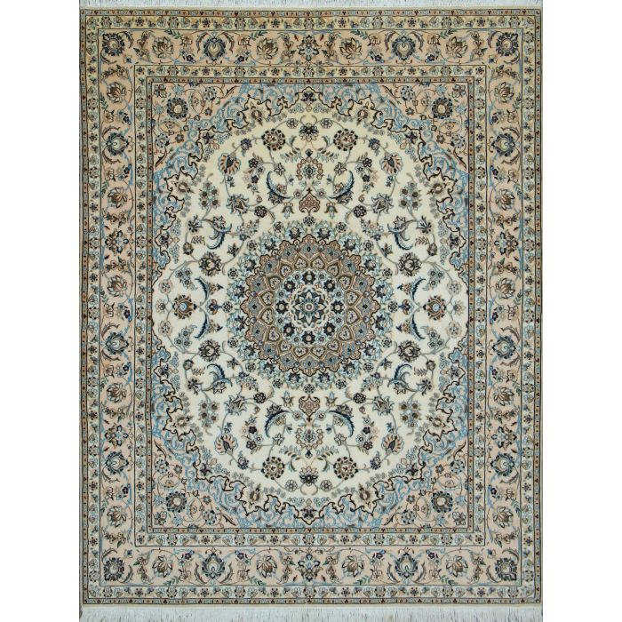 "https://www.armanrugs.com/ | 6' 2"" x 8' 4"" Beige Nain Hand Knotted Wool & Silk Authentic Persian Rug"