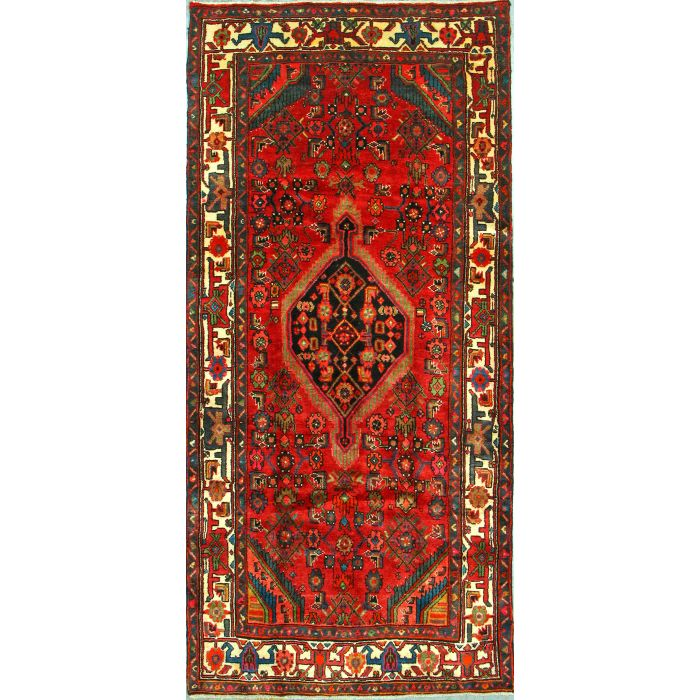 """https://www.armanrugs.com/   4' 1"""" x 8' 8"""" Red Nahavand Hand Knotted Wool Authentic Persian Rug"""