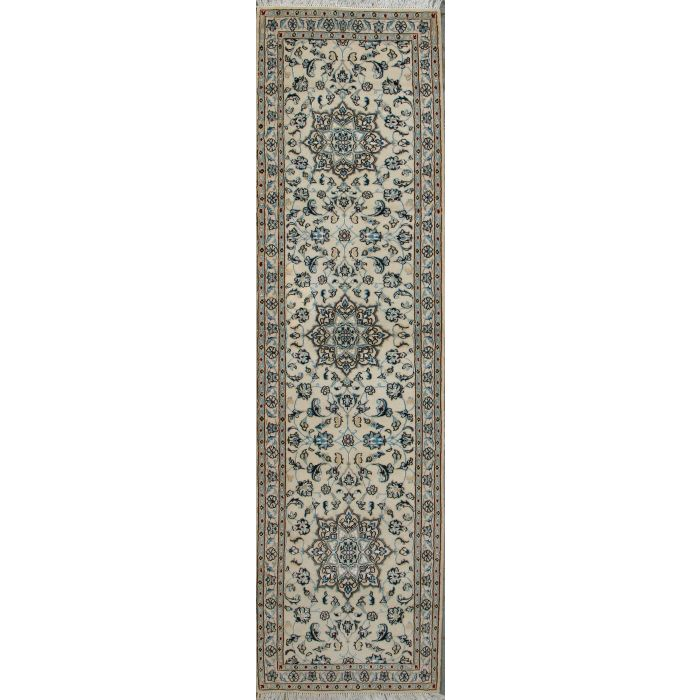 """https://www.armanrugs.com/   2' 5"""" x 9' 4"""" Beige Nain Hand Knotted Wool & Silk Authentic Runner Persian Rug"""