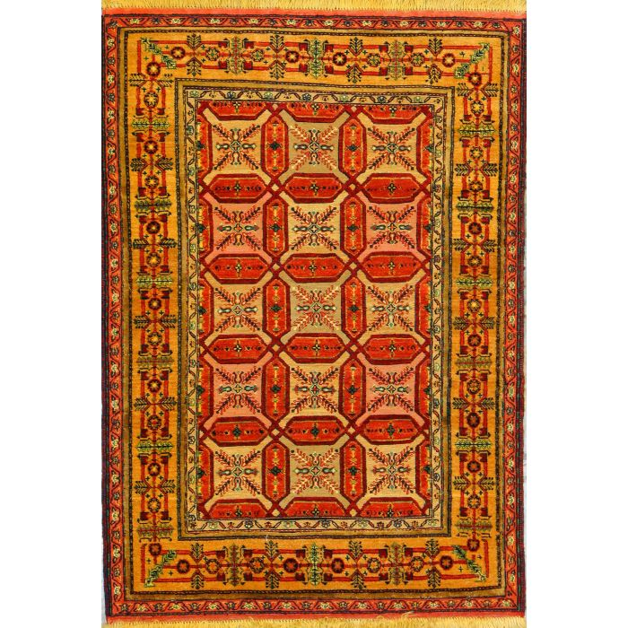 "https://www.armanrugs.com/ | 3' 5"" x 4' 11"" Peach Ghochan Hand Knotted Wool Authentic Persian Rug"