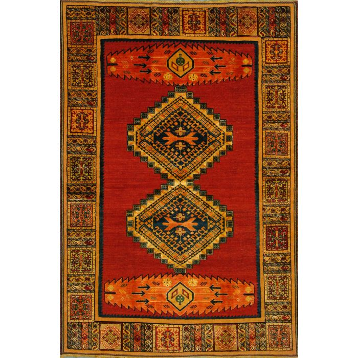 "https://www.armanrugs.com/ | 4' 9"" x 6' 10"" Red Ghochan Hand Knotted Wool Authentic Persian Rug"