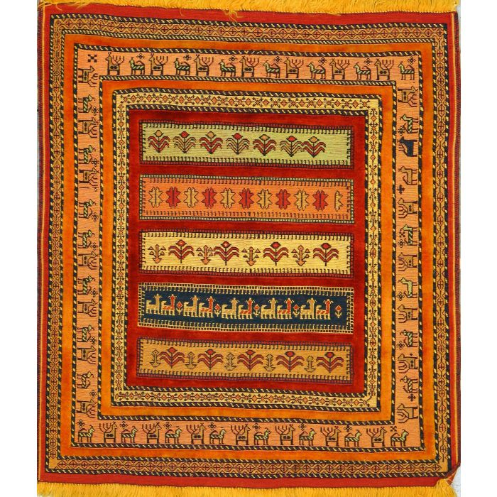 """https://www.armanrugs.com/   3' 0"""" x 3' 5"""" Peach Ghochan Hand Knotted Wool Authentic Persian Rug"""