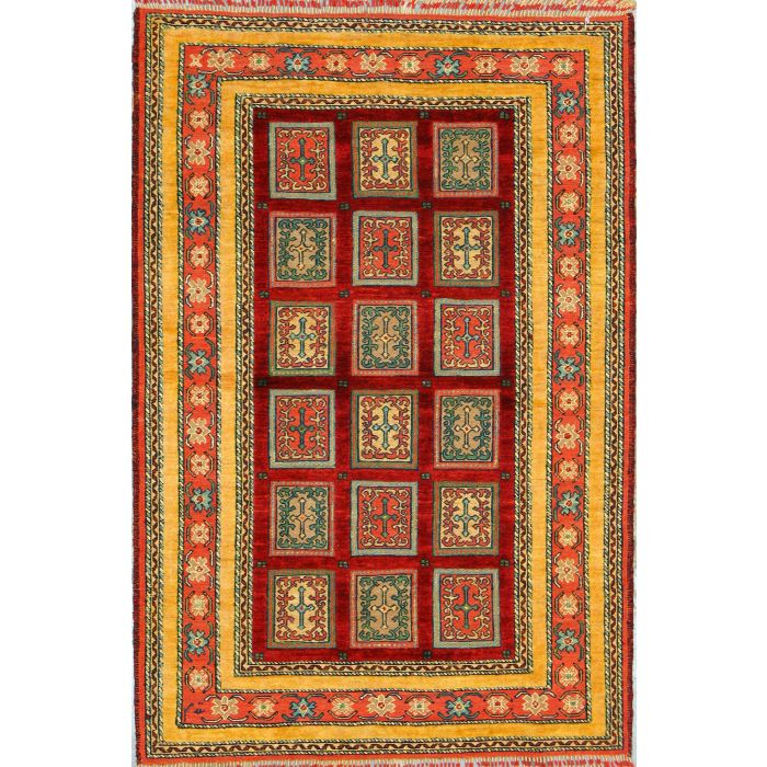 """https://www.armanrugs.com/   3' 4"""" x 5' 0"""" Red Ghochan Hand Knotted Wool Authentic Persian Rug"""