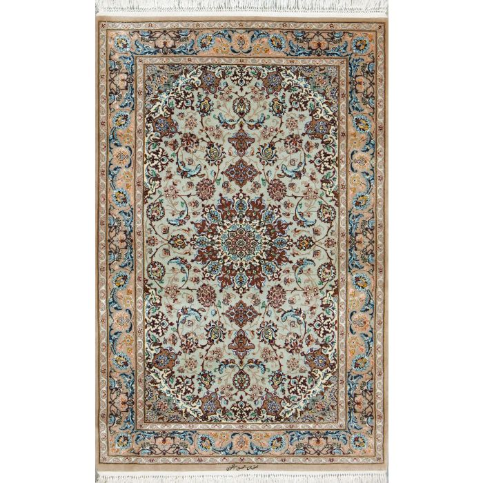 "https://www.armanrugs.com/ | 3' 5"" x 5' 2"" Green Esfahan Hand Knotted Wool & Silk Authentic Persian Rug"