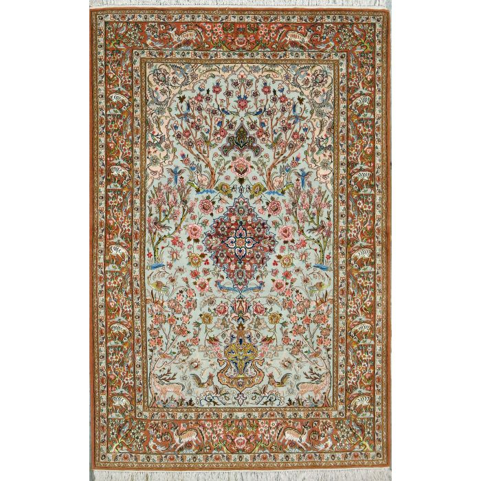 "https://www.armanrugs.com/ | 4' 3"" x 6' 6"" Green Esfahan Hand Knotted Wool & Silk Authentic Persian Rug"