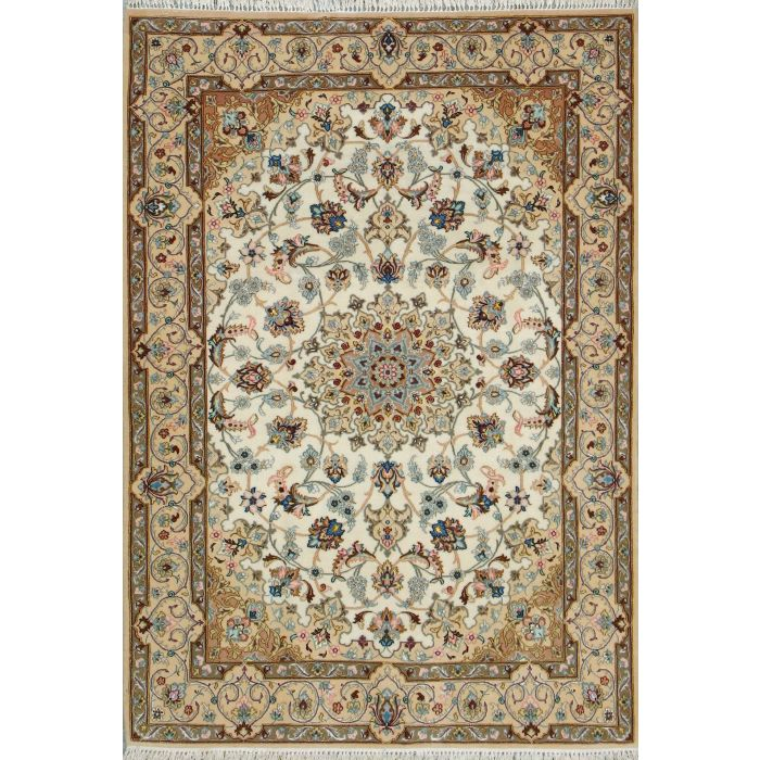 "https://www.armanrugs.com/ | 3' 8"" x 5' 4"" Beige Esfahan Hand Knotted Wool & Silk Authentic Persian Rug"