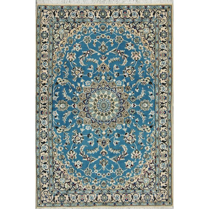 "https://www.armanrugs.com/ | 3' 11"" x 5' 8"" Blue Nain Hand Knotted Wool & Silk Authentic Persian Rug"