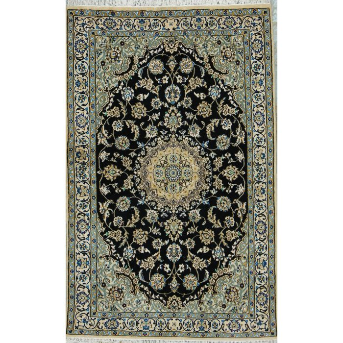 """https://www.armanrugs.com/   3' 9"""" x 5' 10"""" Navy Blue Nain Hand Knotted Wool & Silk Authentic Persian Rug"""