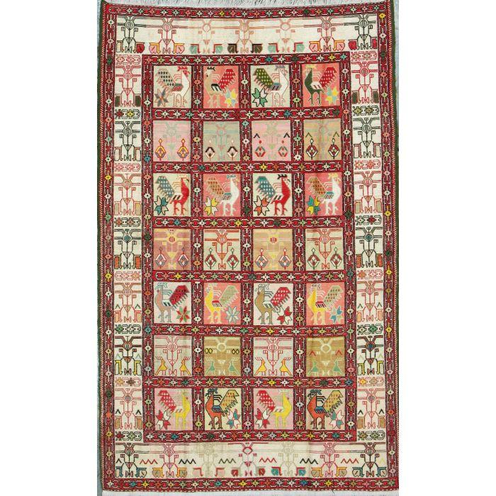 "https://www.armanrugs.com/ | 3' 11"" x 6' 2"" Beige kilim-silk Handmade Wool & Silk Authentic Persian Rug"