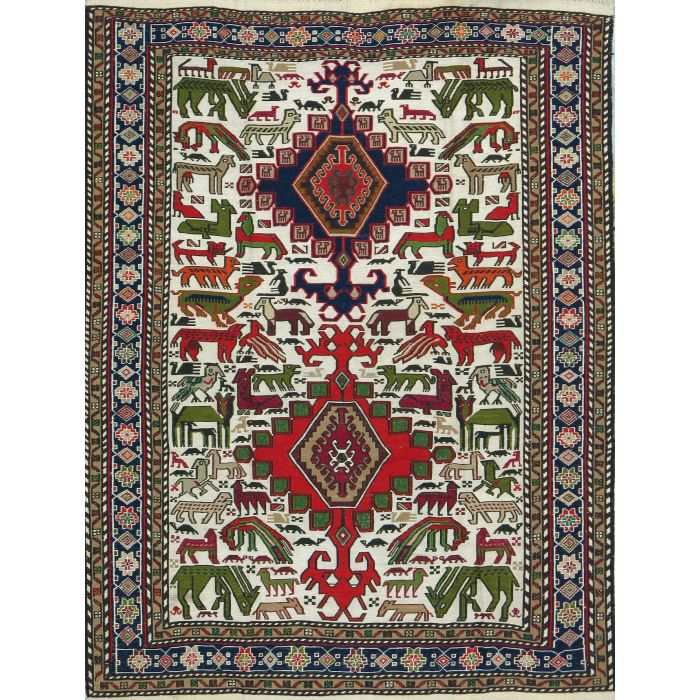 "https://www.armanrugs.com/ | 3' 9"" x 4' 11"" Beige kilim Handmade Wool Authentic Persian Rug"