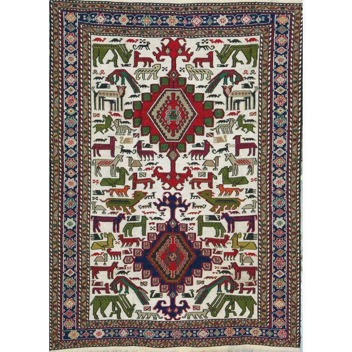 "https://www.armanrugs.com/ | 3' 9"" x 5' 1"" Beige kilim Handmade Wool Authentic Persian Rug"