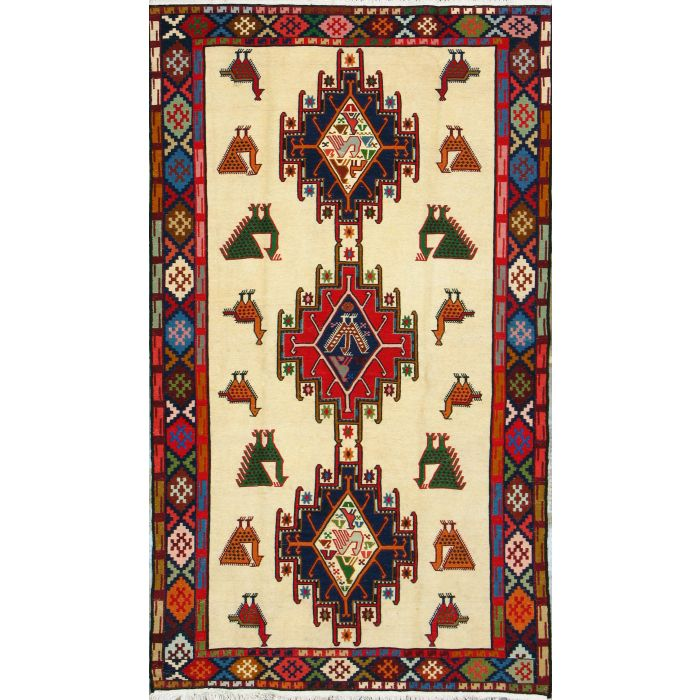 "https://www.armanrugs.com/ | 3' 9"" x 6' 6"" Beige kilim Handmade Wool Authentic Persian Rug"