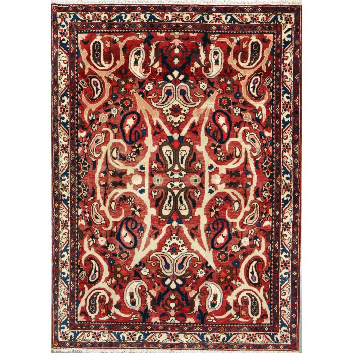 "https://www.armanrugs.com/ | 4' 11"" x 6' 10"" Red Bakhtiari Hand Knotted Wool Authentic Persian Rug"
