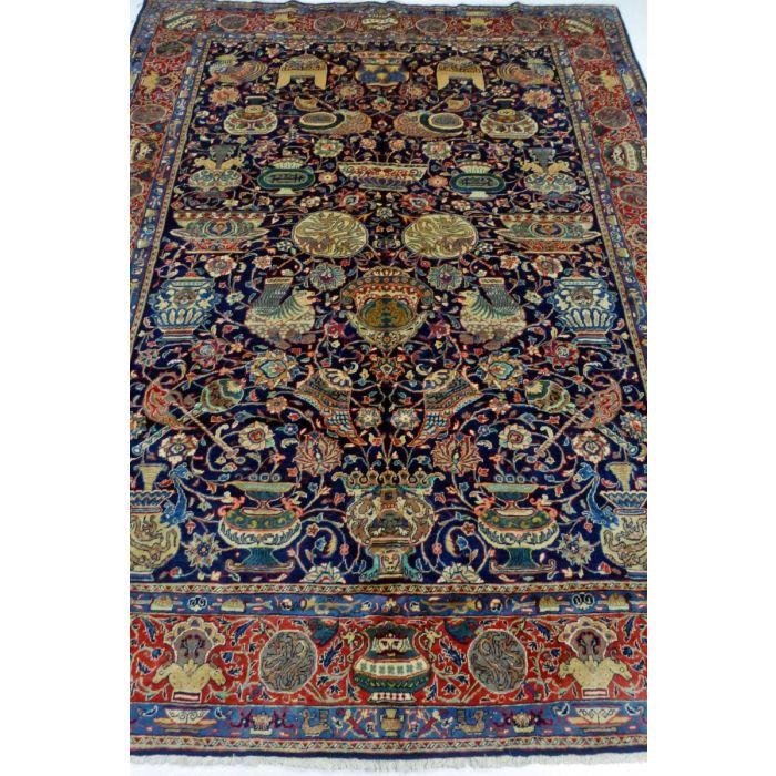 "https://www.armanrugs.com/ | 7' 3"" x 9' 7"" NavyBlue Sarough Handmade Wool Authentic Persian Rug"