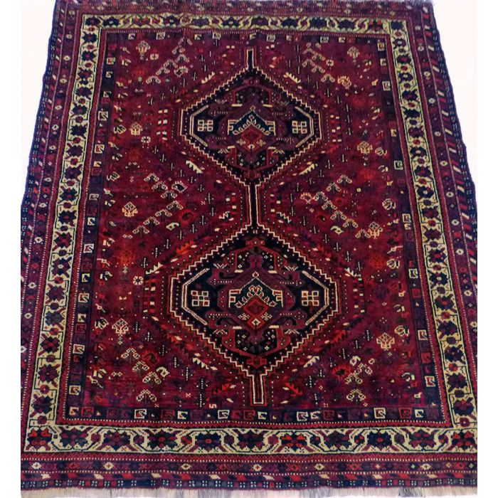 "https://www.armanrugs.com/ | 5' 5"" x 6' 8"" Red Shiraz Handmade Wool Authentic Persian Rug"