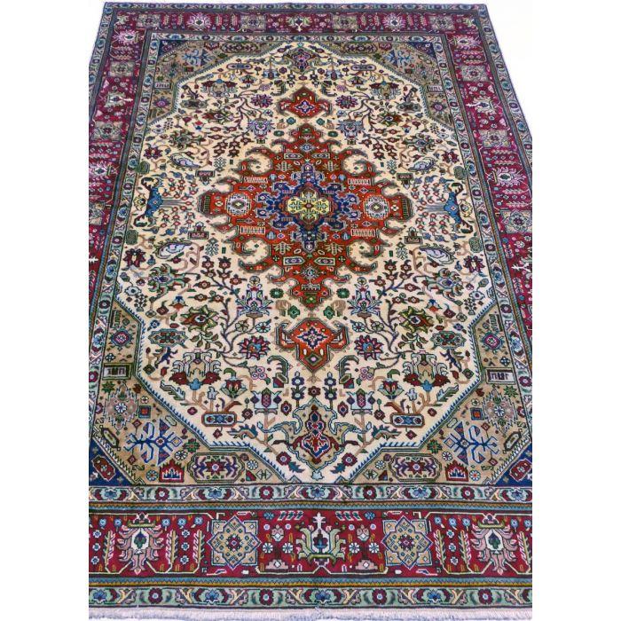 "https://www.armanrugs.com/   6' 7"" x 10' 2"" Beige Tabriz Handmade Wool Authentic Persian Rug"